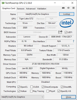 GPU-Z Intel Xe Graphics G7