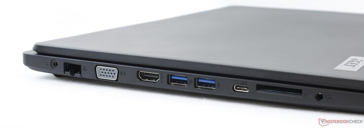 Links: AC-voeding, Gigabit RJ-45, VGA-out, HDMI, 2x USB-A 3.1 Gen. 1, USB-C 3.1 Gen. 1, SD-lezer, 3.5-mm combo-audio