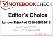 Editor's Choice Award in maart 2018: Lenovo ThinkPad X280