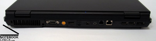 Achterkant: Kensington Slot, Fan, VGA Out, S-Video, HDMI, Voedingsaansluiting, Firewire, Modem, LAN, 2x USB 2.0, eSATA